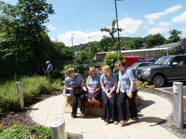 Health centre staff enjoying the garden
