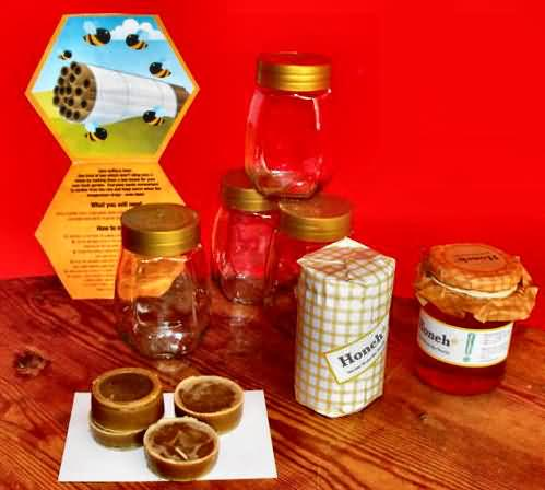Recycled jars waiting for Bee Spoke Honey
