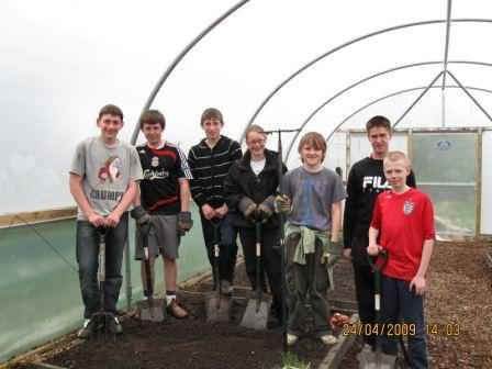 students who've worked on planting in polytunnel