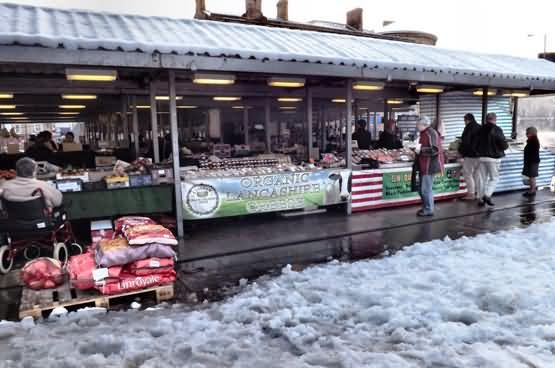 Todmorden market in the snow