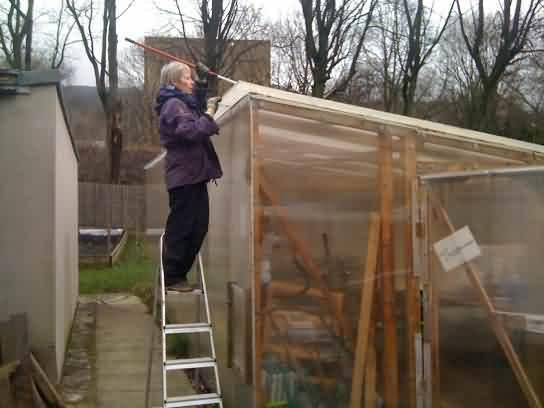 cleaning the greenhouse at Ferney Lee care home