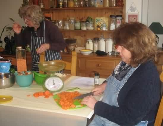 chopping carrots for carrot and cashew loaf