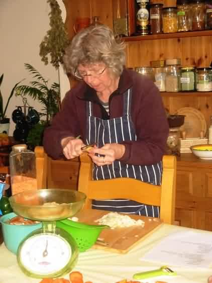 Stella gets busy at Hilary's adult learning cooking class