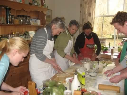 all hands to prepping the pies and patties