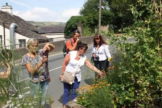 Our visitors from Belgium at Mary's sharing garden