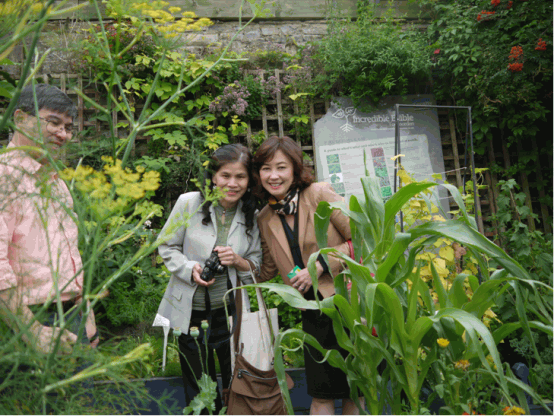 visitors from Thailand enjoy Mary's sharing garden