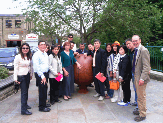 Pam and Robin show our town to our visitors  from Thailand