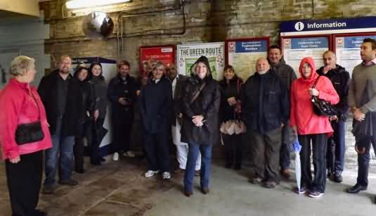 On a damp tour 15 of 50 duck into Todmorden station for a photo opp