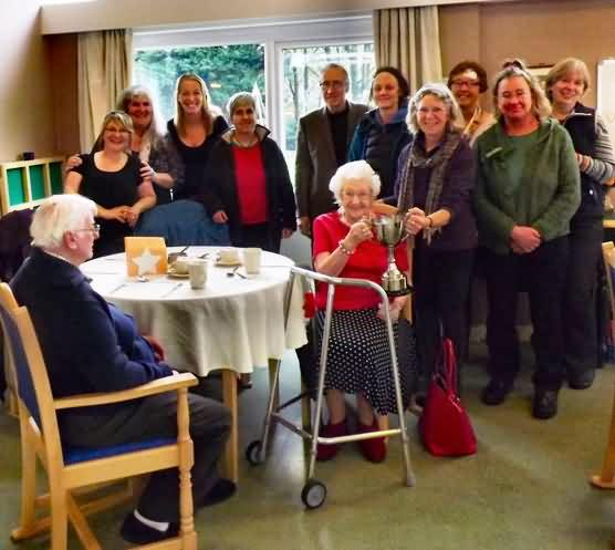 residents and staff join in the celebration