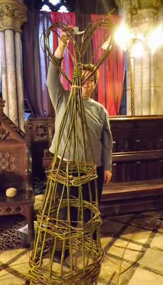 Stephen tops his Willow tower with a heart