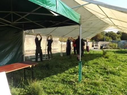 erecting tents at harvest festival