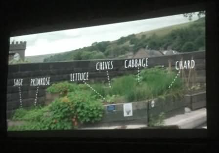 A section of the documentary featuring the raised growing bed in Todmorden station car park