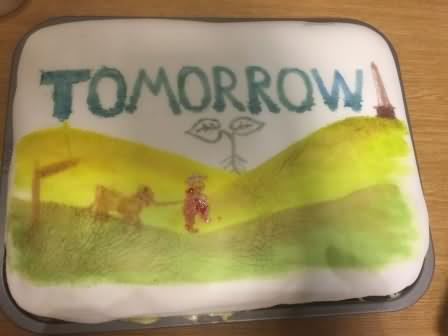 Helena's cake featuring Nick and Custard the Cow