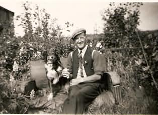 Herbert Hardwick and Bob in their vegetable garden