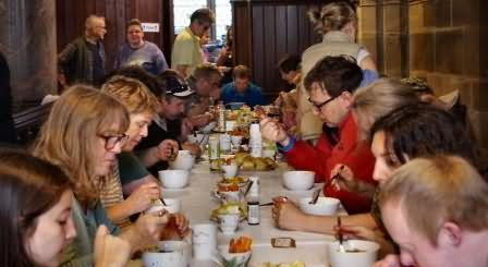volunteers and visitors all eat together